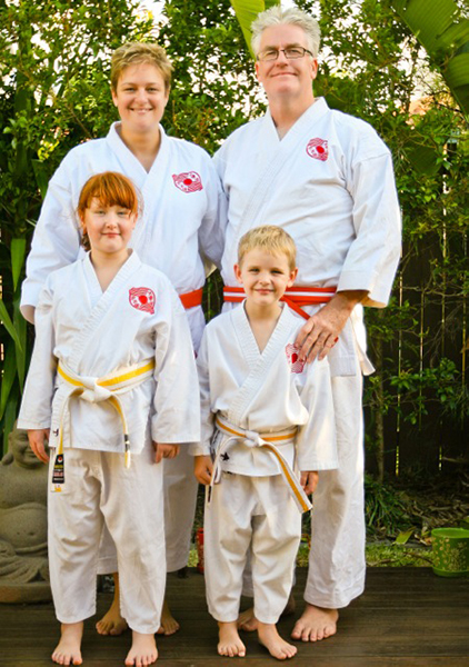 Family training together in karate
